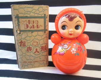 Kusukara Roly Poly doll, in original box, Hug Doll, cute jump roping bunny flower detail