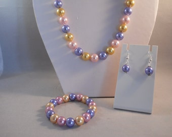 SALE 12mm Pearl Necklace, Stretch Bracelet and Earrings set in Pail Blue, Pink and Yellow
