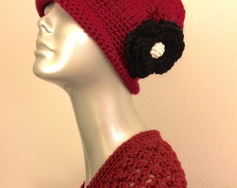 Vintage style handcrochet hat and scarf set