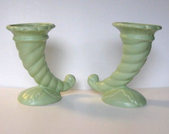 SALE, Pair of Vintage Art Deco cornucopia vases, West Coast California Pottery , #210, Mother's Day, Sea Foam Green, Home Decor, gift idea