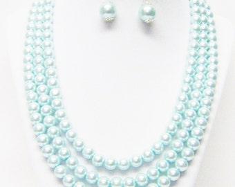 3 Strands Aqua Glass Pearl Necklace/Bracelet & Earrings