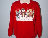Vintage Red Ugly Christmas Sweater / Christmas Party Unisex Sweatshirt Sweater / Snowmen Trees Glitter / Size Large