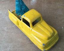 Tootie Toy Truck with Yellow Chippy Paint and a Dark Green Wired Tree