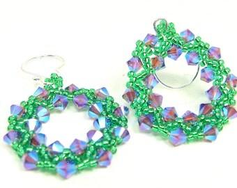 Wreath Earrings, Amethyst Crystal Hoop Earrings, Amethyst Green Beadwork, Holiday Beaded Earrings, Christmas Earrings