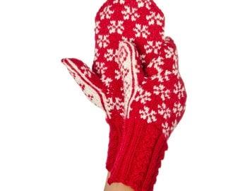 Frost Mittens Winter Mittens Red Mittens Norwegian Mittens Norwegian Wool Mittens Merino Gloves Winter Gloves Warm Mitts