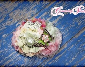 M2M Mustard Pie Spring 2014, Petal Pink Easter Dress Headband, Butterflies, Light Pink, Ivory Hair Accessory, Blush Hair Clip, Hair Piece