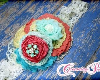 Coral, Mint, Aqua, Yellow Hair Accessories, Ivory Flower Headband, Mint Green Flower Hair Clip, Buttercream Hair Piece, Fabric Flower Brooch