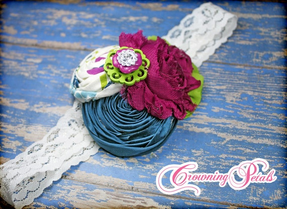 Fabric Flower Headband, Plum, Teal, Lime Hair Accessory, Baby Girl Hair Bow, Hair Clip, Hair Piece, Fabric Flowers, Flower Brooch