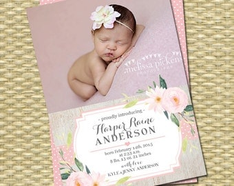 Baby Girl Birth Announcement Rustic Birth Announcement Pink Mint Floral Harper Style Printable or Printed Any Event Any Color Scheme