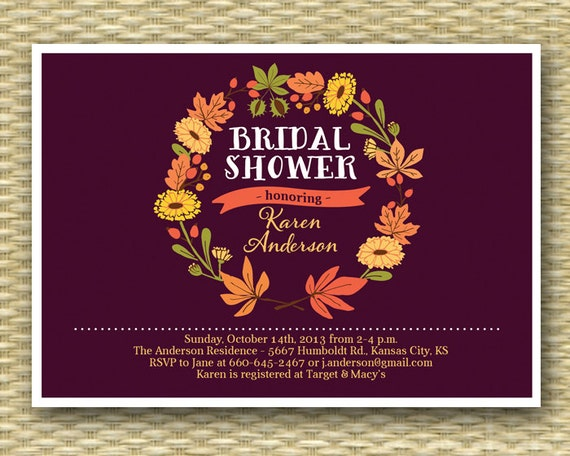 Fall Wedding Shower Invitations: Fall Bridal Shower Invitation