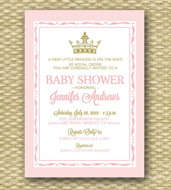 Princess Baby Shower Invitation Pink And Gold Royal Baby Shower