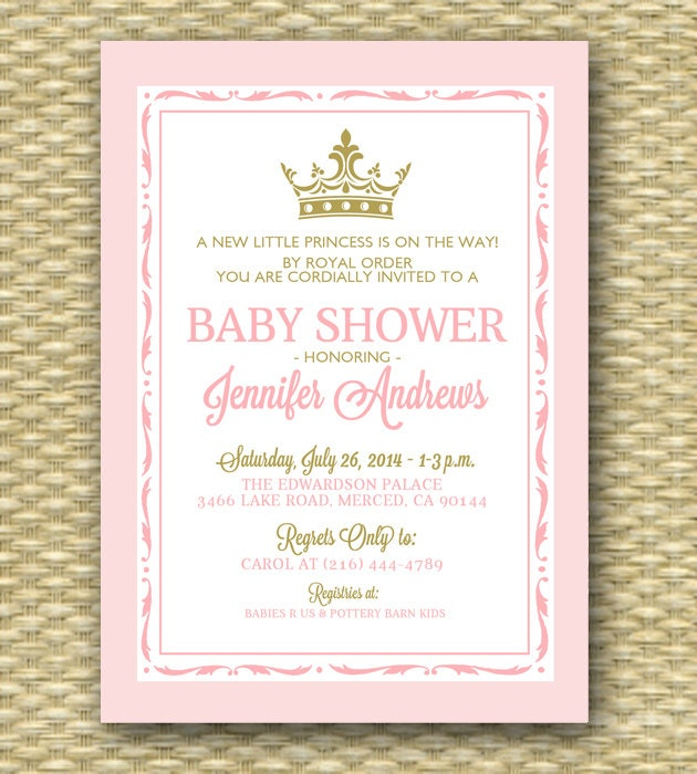 princess baby shower invitation pink and gold royal baby