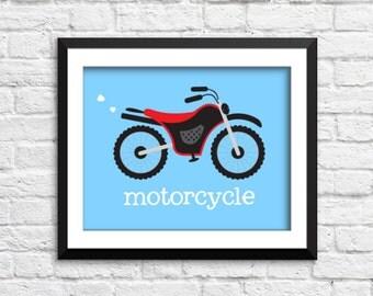 Motorcycle art print, motorcycle decor nursery, motorcycle poster, transportation art print, transportation decor, baby boy bedroom decor