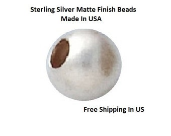 7 MM   Pkg. Of  6  Sterling Silver Matte Finish  Round beads    5307S