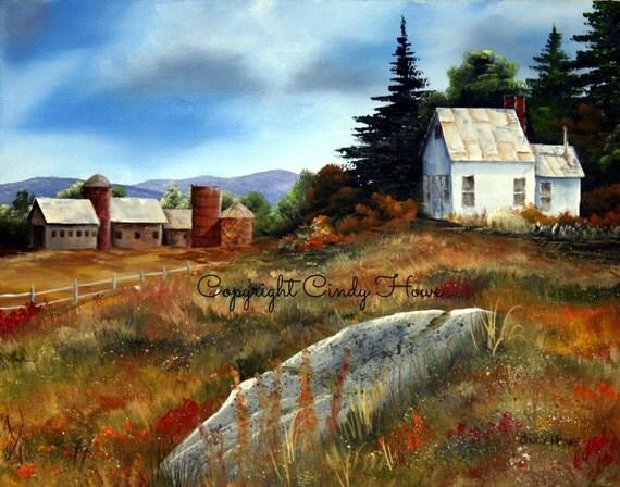 Digital Art Farm Farm House Barns Farm Scene Country