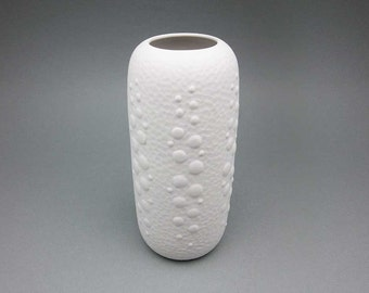 White Op Art bisque porcelain vase by Kerafina / Royal Porzellan KPM (Bavaria)