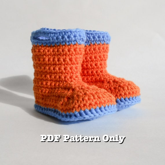 PDF Pattern Crochet Baby Booties Rain Boots Galoshes Gum Boots