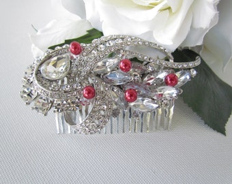 Red Bridal Hair Comb, Red Bridal Hair Accessories, Ruby Red Hair Comb, Red Wedding Hair Accessories, Red Pearl Hair Comb,