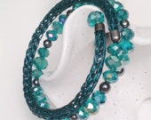 Teal and hematite XL viking knit beadwork memory wire bracelet