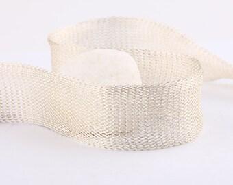 Silver, Titanium Tubular Mesh Ribbon, Titanium Mesh Cord, 1 mt. - Cord / Ribbon Supplies // CRD-0011