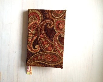 Journal: Bound Journal, Paisley, Notebook, Fabric, Hand Sewn, Gift, Unique, Wedding, Stocking Stuffer, For Her, For Him, Blank, Unlined