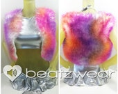 PREMADE faux fur vest tie dye crop top furry rave music festival accessories hippie cropped top bolero shrug pink purple orange white