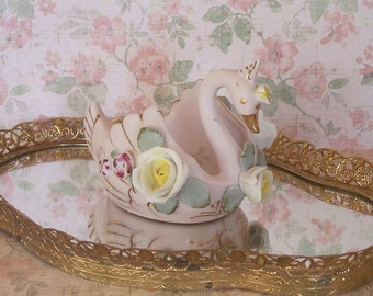 Lefton China Hand Painted Swan Figurine 1950s Vanity Dish/Shabby Chic/Trinket Dish/Ring Dish