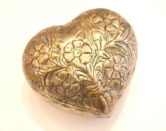 Heart-Shaped Trinket Box, Flowered Metal Box, Vintage Trinket Box, Jewelry Case
