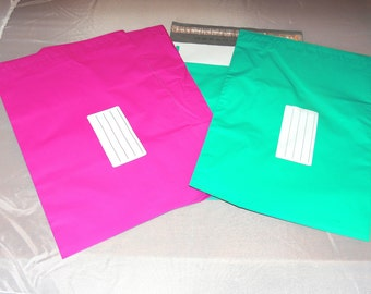 50 Hot Pink and Teal 9x12 Poly Mailers, Flat Poly Mailing Shipping Bags, Pink, Colored Poly Mailer Shipping Envelope Poly Shipping