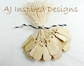 ITTY BITTY Shabby Chic Tea Stained Paper Tags with String for Jewelry