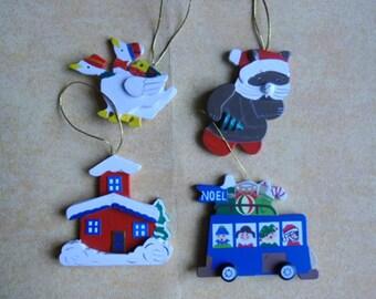Vintage Christmas Wood Ornaments - 4 Handpainted Ornaments - Country Goose - Santa Bear - Schoolhouse - Bus - Taiwan