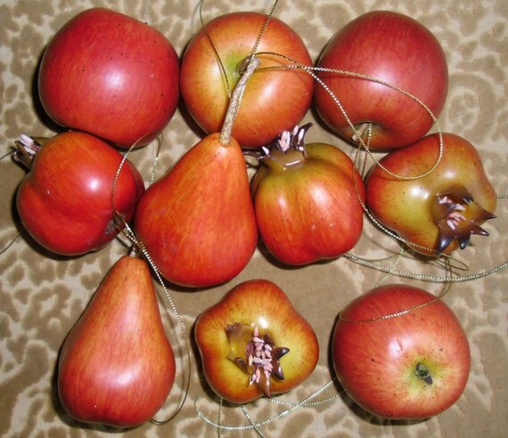 Fake fruit apples pomegranates pears holiday by for Artificial pomegranate decoration