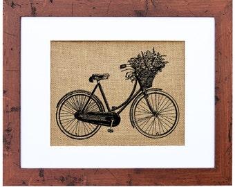 Dutch Bicycle, Ladies Bicycle, Flowers on Bike, Burlap Wall Art, Rustic Wall Art, Farmer's Market