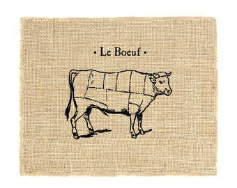 Le Boeuf Unframed, Cow Cuts Print, French Inspired Art, Kitchen Art, Art for the kitchen