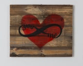 Reclaimed wood red with infinity