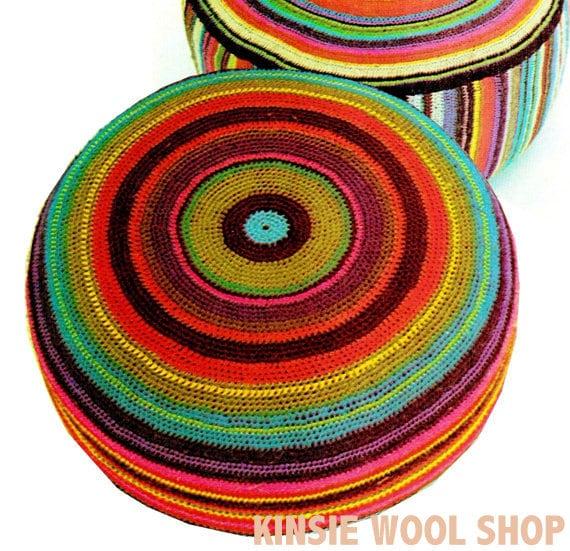 Vintage 70s LARGE Floor Pillow PDF Crochet by KinzieWoolShop