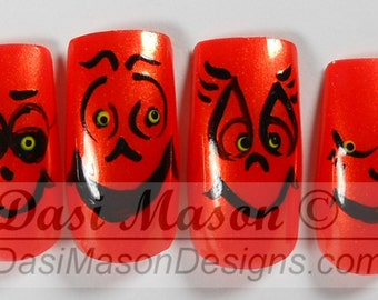 Silly Pumpkin Faces Instant Acrylic Nail Set