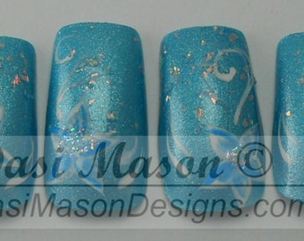 Light Blue with Flowers Instant Acrylic Nail Set