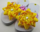 Tangled Inspired Flip Flops- Child M (Size 11-12)