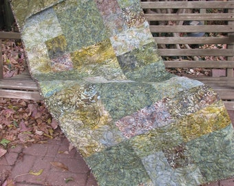 Lap Quilt, Sofa Quilt, Quilted Throw - Misty Morning Batik Quilt