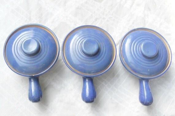 Rustic Blue Earthenware Covered Soup Crocks, Set of 3, Vintage, Rustic Decor, Bean Pot, Farmhouse, Autumn Decor,