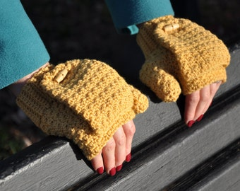Warm Mustard Mitts - Instant Download PDF Crochet Pattern