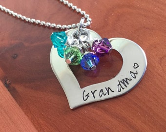 Hand Stamped Grandma Necklace with Birthstones