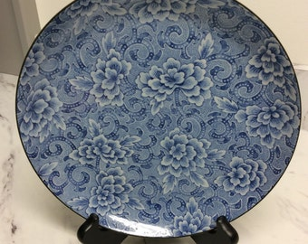 Blue and white porcelain cheese plate