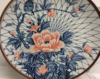 Vintage porcelain serving plate with bird ad floral motif, made in japan, ivory/blue/coral