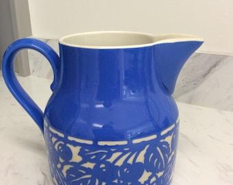 Rare Vintage Villeroy and Boch    Concord Blue Art Nouveau Pitcher   Dresden Saxony   Grapes