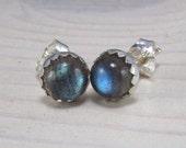 Labradorite post earrings - Labradorite Stud Earrings - sterling silver