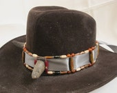 Steampunk Old West Buffalo-Horned Bone/Horn/Copper/Wire/Ribbon Hat Band
