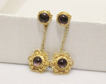 Vintage Chinese Silver Filigree Amethyst Earrings with Gold Wash