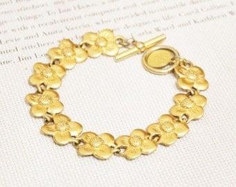 Vintage Gold Bracelet By Anne Klein, Gold Flower Bracelet, Linked Bracelet